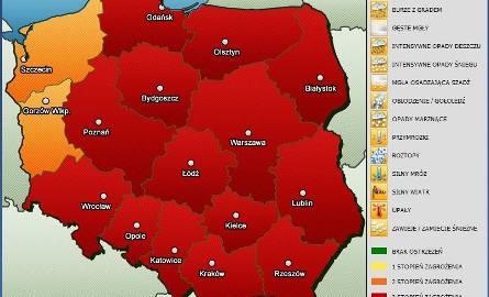 Mapa zagrożenia upałami w Polsce (źródło: www.meteoalarm.pl)