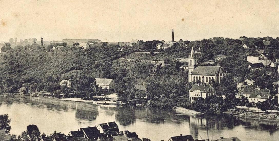 Widok z wieży kościoła św. Jadwigi Śląskiej w Krośnie. Zdjęcie zostało wykonane w 1914 roku.