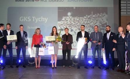 Laureaci Kapituły Plebiscytu: Trenerka Iwona Krupa, szablistka Marta Puda i drużyna hokeistów GKS-u Tychy.