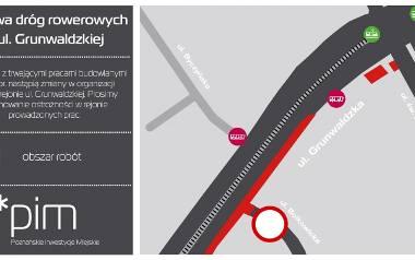 Na Grunwaldzkiej w Poznaniu rozpocznie się kolejny etap prac w związku z rozbudową drogi rowerowej