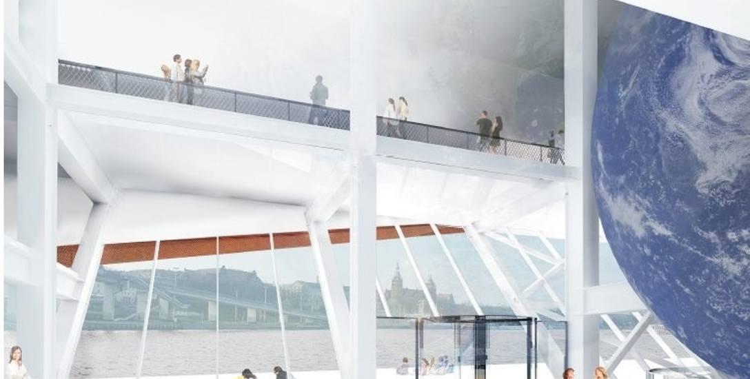 Przez wszystkie trzy piętra przebijać się będzie niecodzienne planetarium (widoczne po prawej stronie). Wyświetlane na zewnątrz obrazy powodować będą