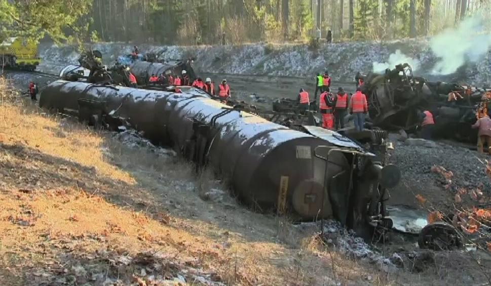 Film do artykułu: Wężówka. Kilkudziesięciu strażaków walczy ze skutkami wykolejenia się pociągu (wideo)