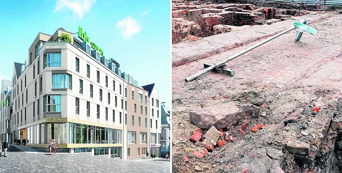 Wizualizacja nowego hotelu Ibis i dalsza zabudowa wzdłuż ul. Ponieńskiej i Rynku Nowego. Na prawym zdjęciu odsłonięta przedwojennej uliczka Hünerbeinstrasse