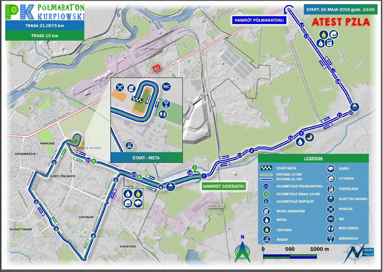 Trasa Półmaratonu Kurpiowskiego 2019