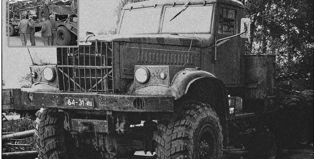 Potężny Kraz, taki wziął udział w wypadku. Na małym zdj. jedyna fotografia przedstawiająca zniszczony autobus, na platforme