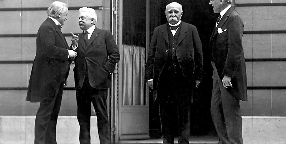 Główni rozgrywający na konferencji paryskiej: premier Wielkiej Brytanii David Lloyd George, premier Włoch Vittorio Emanuele Orlando, francuski premier