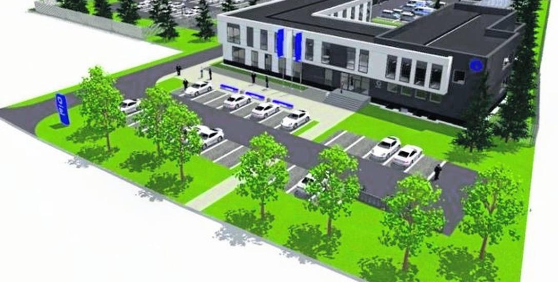 Wizualizacja nowej komendy w Świdwinie. Obiekt ma powstać przy ulicy Armii Krajowej