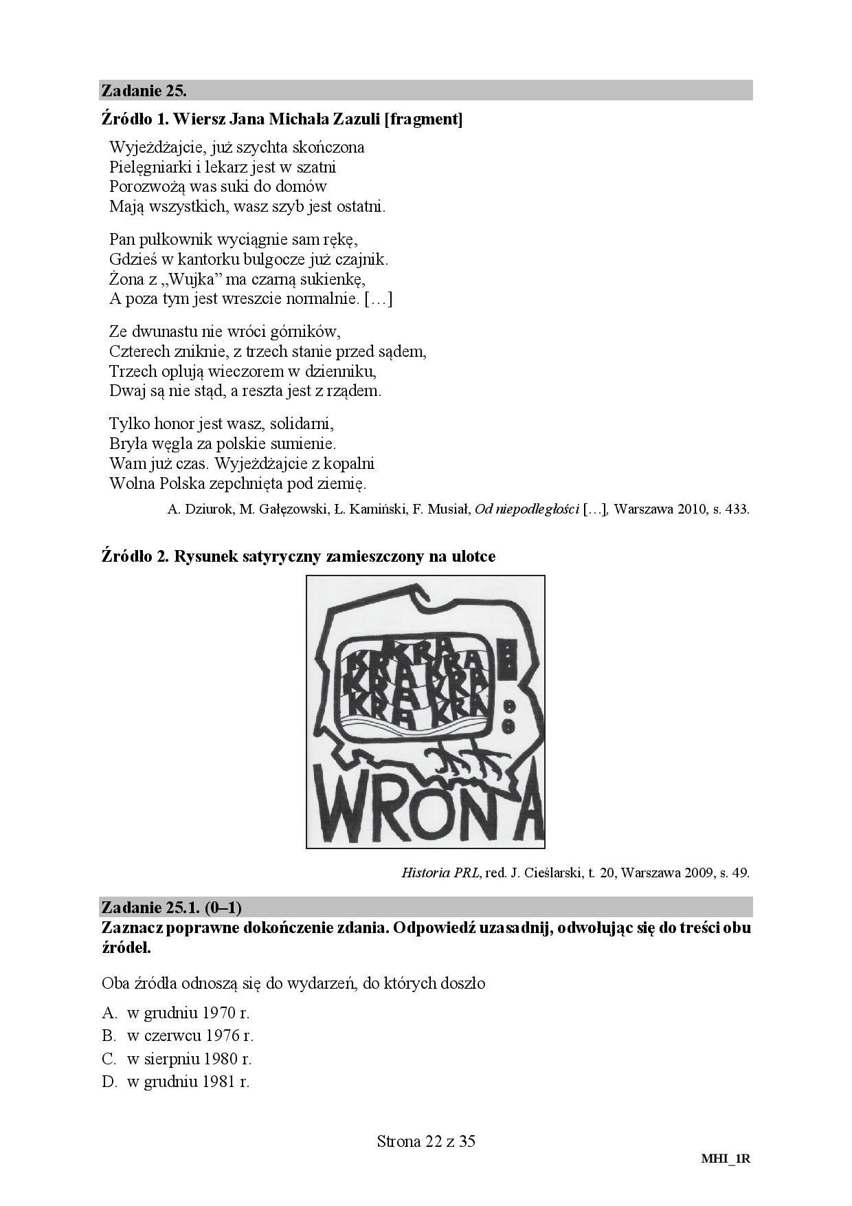 Matura 2018 Historia Rozszerzona Odpowiedzi Arkusze Cke