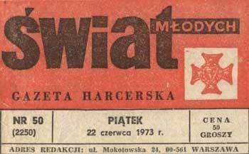 """W 1974 pismo zmieniło podtytuł na """"Harcerska Gazeta Nastolatków"""""""