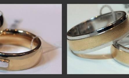 Żółte złoto z białym, z diamentami ( d- 1910 zł, m – 1394 zł) i żółte złoto z białym, płaskie (ścięte po bokach) (d – 1084 zł, m – 1224 zł)