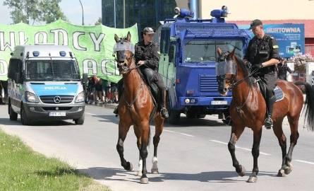 Porządku pilnowali nawet policjanci na koniach.