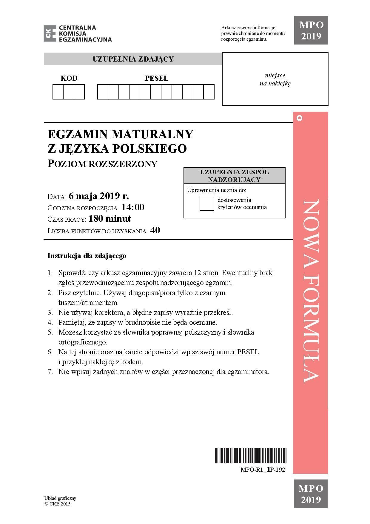 matura 2006 polski klucz