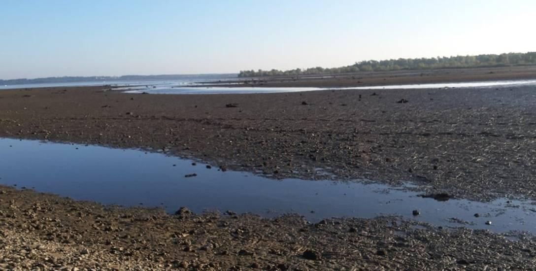 Brzegi jeziora cofnęły się o setki metrów. Wędkarze postanowili chronić ryby