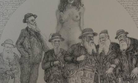 """Jeden z rysunków inspirowanych twórczością Brunona Schulza autorstwa Benka Homziuka – artysty z Lublina. Obraz nosi tytuł """"Rozprawy i zamysły mędrców"""