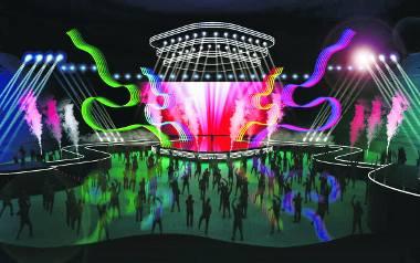 Tak ma ostatecznie wyglądać scena podczas oficjalnego wydarzenia Eurowizja Junior 2019 w Arenie Gliwice