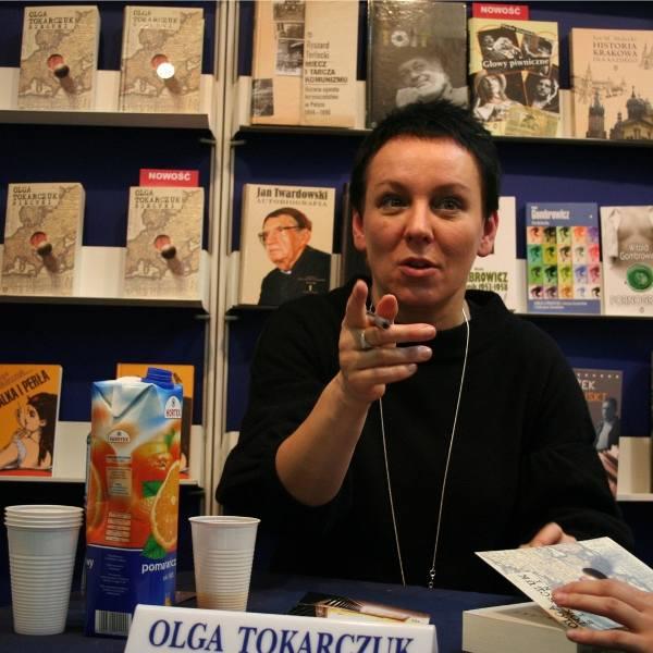 Olga Tokarczuk na targach książki w Krakowie w 2017 r.