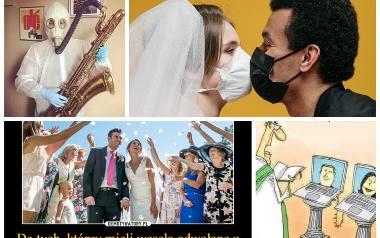 Z powodu pandemii koronawirusa pary młode na całym świecie musiały odwołać, przenieść swój ślub, lub zorganizować go w nietypowych warunkach. Maseczki,