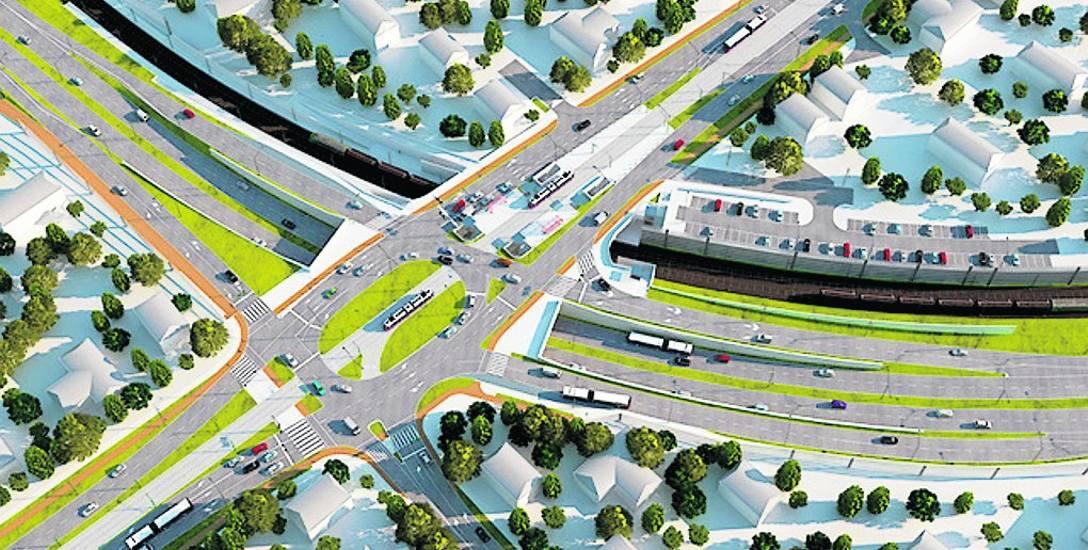 """Wizualizacja węzła """"Łękno"""",  będą tu parkingi typu """"Bike & Ride"""" i """"Park & Ride"""", przystanki autobusowe (linie 53, 60, 67) i tramwajowe"""