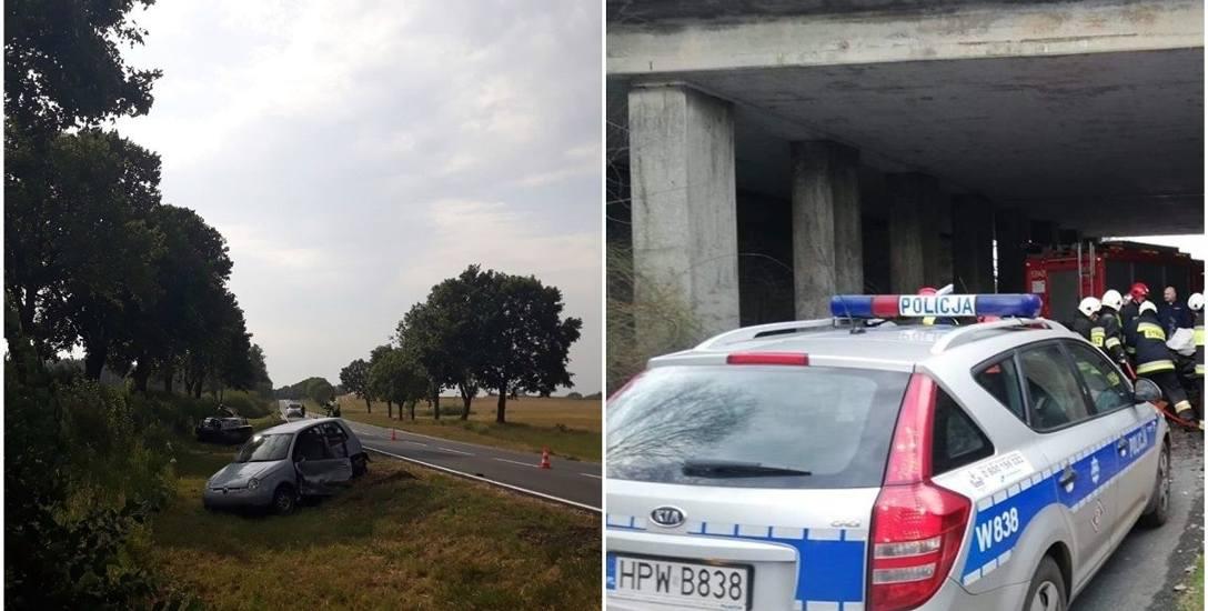 Zdjęcie z lewej: 30 lipca w zderzeniu trzech aut na drodze krajowej nr 10, niedaleko Sadłowa, rannych zostało sześć osób, w tym trójka dzieciZdjęcie