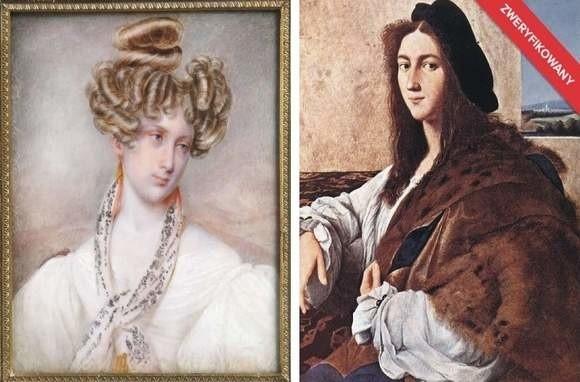 """Autorem akwareli """"Portret nieznajomej"""" (z lewej) jest Jan Nepomucen Głowacki. Jest to prawdopodobnie portret żony autora, Marii. Po"""