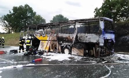 Pożar autobusu na A4. Jechali nim koloniści z Dąbrowy Górniczej