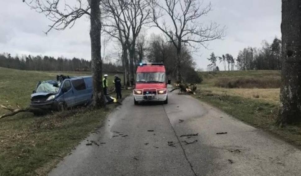 Film do artykułu: Wypadek koło Puzdrowa. Drzewo przygniotło samochód w Łyśniewie Sierakowickim 12.03.2020. Nie żyje kierowca