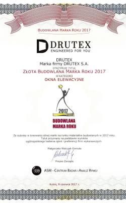 Bytowski Drutex nagrodzony tytułem Złota Budowlana Marka Roku 2017