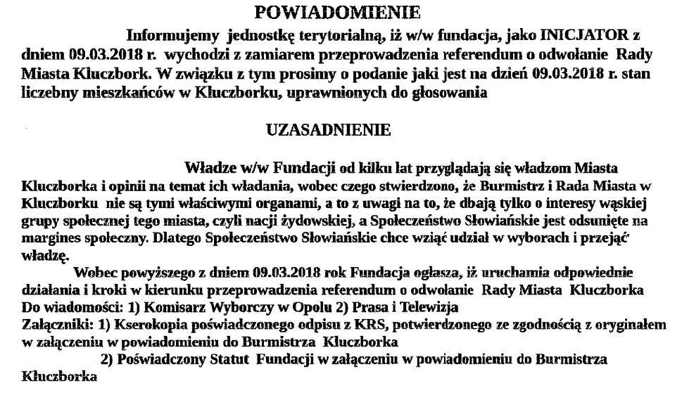 """Film do artykułu: Fundacja Wspierania i Promocji Społeczności Słowiańskiej """"Razem"""" chce odwołać burmistrza i radnych z Kluczborka. Będzie referendum? [wideo]"""