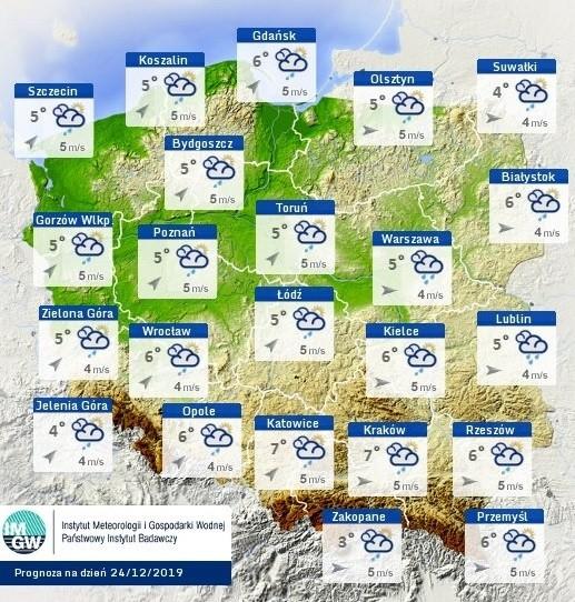 Prognoza pogody na wigilię 2019