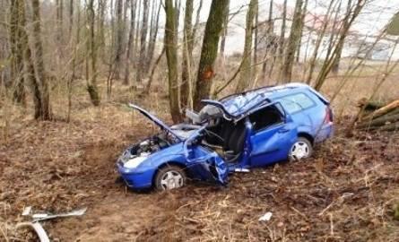 Fordem zahamował na drzewie. Ranny kierowca jest w szpitalu (zdjęcia)