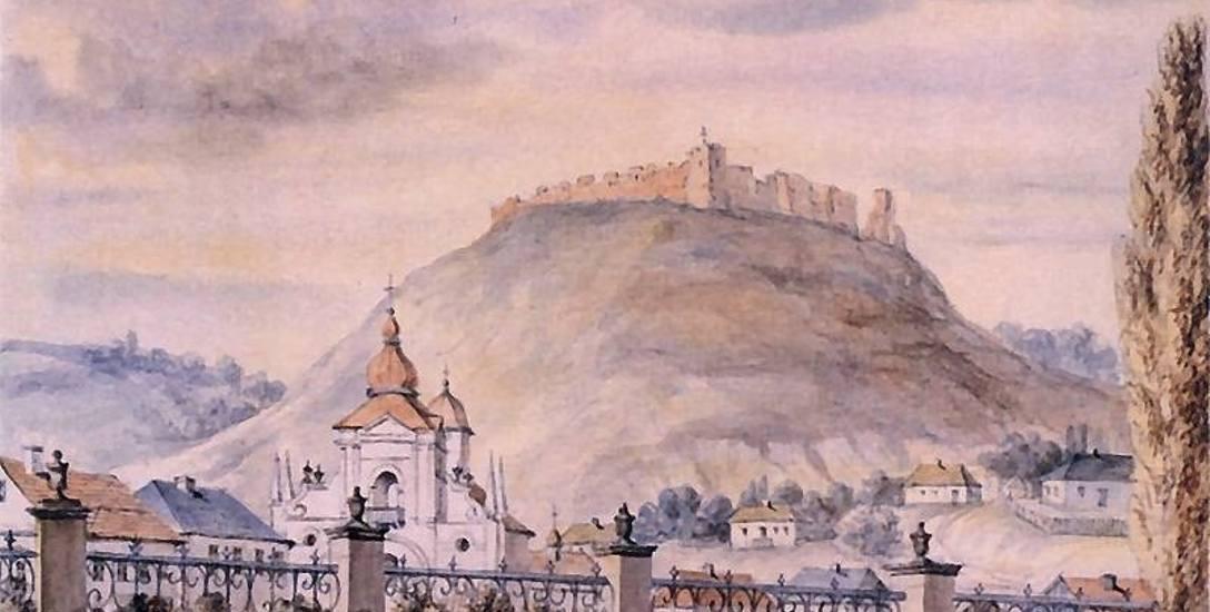 Widok na Krzemieniec i dominującą nad nim Górę Królowej Bony na akwareli Napoleona Ordy - autora ponad tysiąca rysunków przedstawiających ważne obiekty