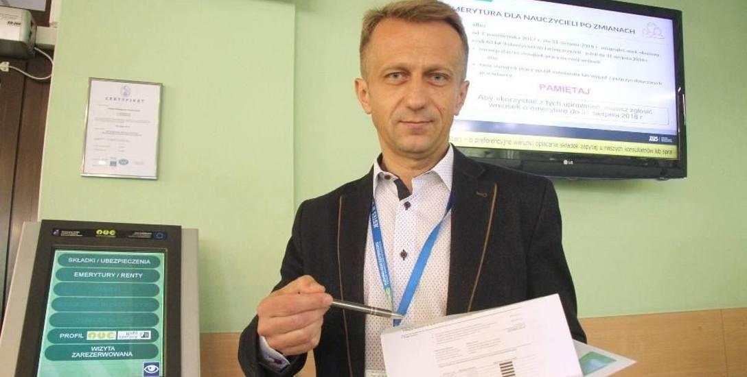 Paweł Szkalej, rzecznik kieleckiego Zakładu Ubezpieczeń Społecznych.