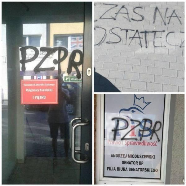 """Elżbieta Podleśna pod sąd za napisy """"PZPR"""" na biurach polityków PiS? Pokrzywdzeni nie zgadzają się na warunkowe umorzenie"""