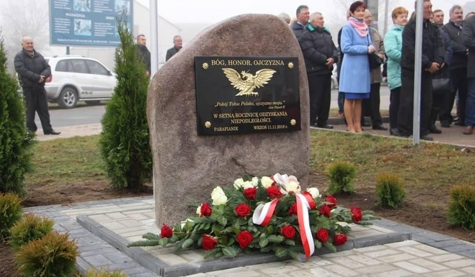 Film do artykułu: Parafia we Wrzosie w gminie Przytyk upamiętniła 100. rocznicę odzyskania przez Polskę niepodległości stawiając pomnik przed kościołem