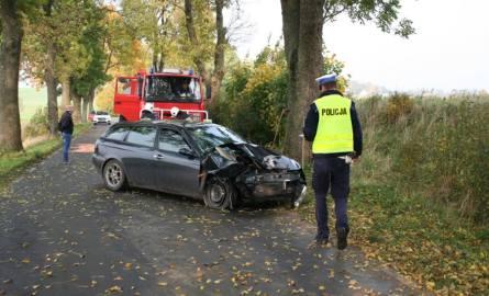 Wczoraj około godz. 10.30 w Białem kierujący osobową alfą romeo na łuku drogi (w lewo) stracił panowanie nad pojazdem uderzając w drzewo, a następnie