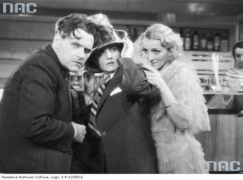 """Eugeniusz Bodo, Jadwiga Smosarska i Elżbieta Antoszówna w filmie """"Czy Lucyna to dziewczyna"""" z 1934 roku"""