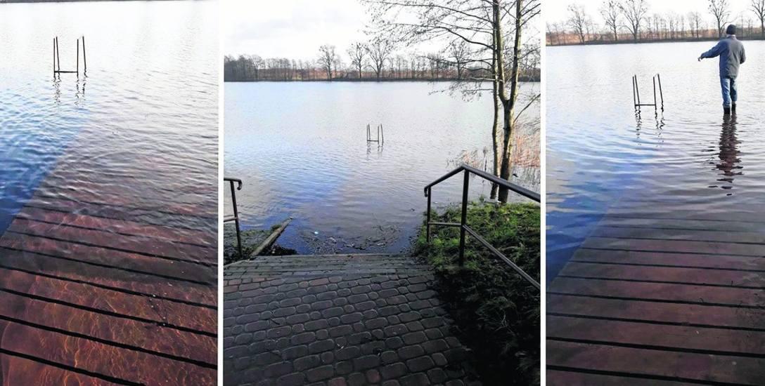 Molo nad jeziorem w Wapnicy jest całkowicie zalane wodą. Mieszkańcy obawiają się, że zgnije.