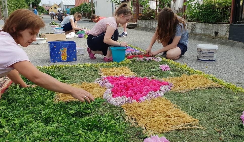 Film do artykułu: Mieszkańcy Klucza, Olszowej, Zimnej Wódki, Zalesia Śląskiego ułożyli kwiatowe dywany z okazji Bożego Ciała