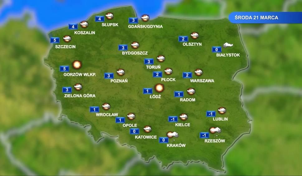 Film do artykułu: Prognoza pogody na 21 marca: środa pochmurna, ale mróz dopiero w nocy WIDEO