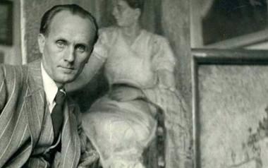 Czesław Sadowski w swojej pracowni malarskiej.