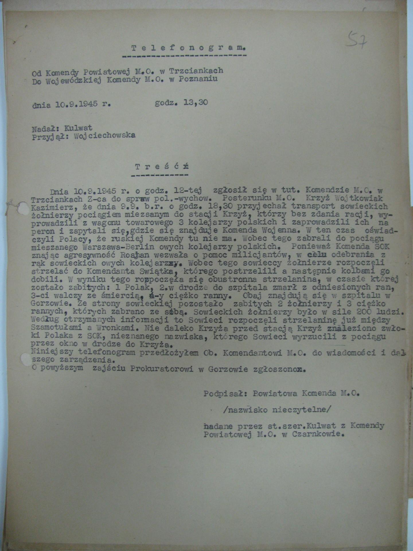 Telefonogram Komendy Powiatowej MO w Trzciance
