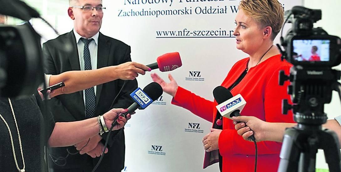 O projekcie mówiła dyrektor Izabela Ciuńczyk oraz zastępca dyrektora szczecińskiego oddziału NFZ ds. medycznych, lek. med. Tomasz Żukowski