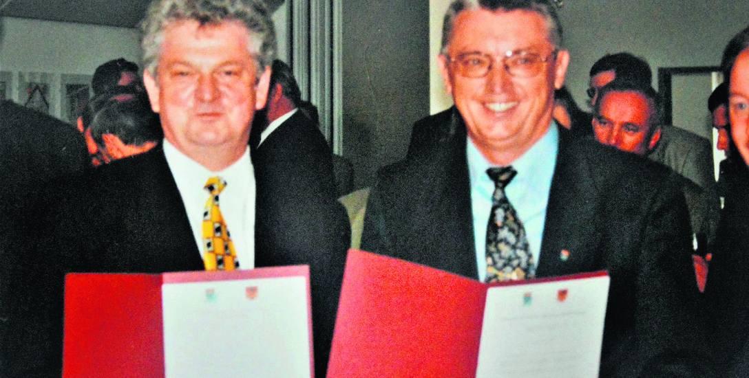 Bronisław Kurpiela i Willi Hayen tuż po podpisaniu listu intencyjnego w sprawie partnerstwa w 1999 roku.
