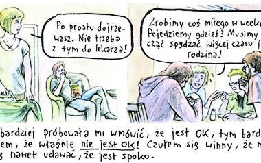 """""""Dorosłość wydaje się otchłanią pełną przykrości"""" - mówi Szaulińska, psycholożka która wraz z Danielem Chmielewskim  stworzyła komiks """"Czarne fale"""""""