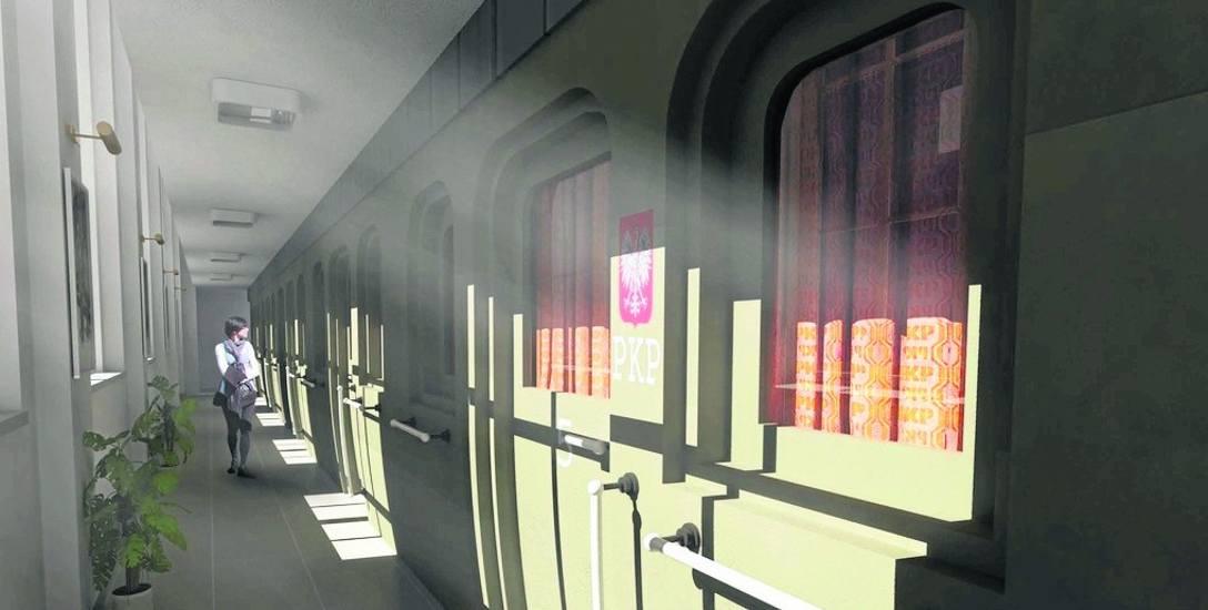 Tak toruńscy architekci wyobrażają sobie korytarz na ciechocińskim dworcu przebudowanym na hotel