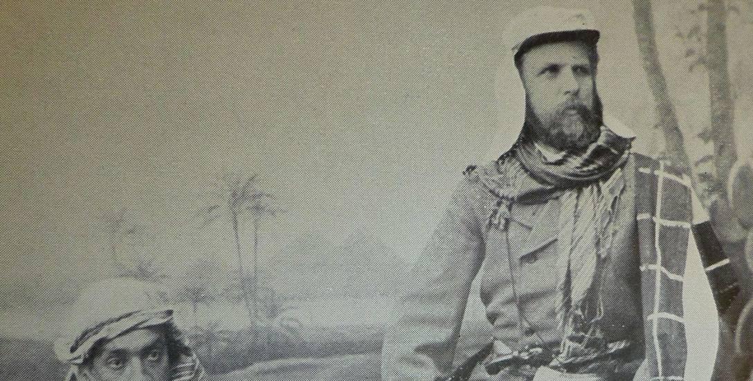 Carl Stangen (po prawej) na wycieczce w Egipcie. Lata siedemdziesiąte XIX wieku.