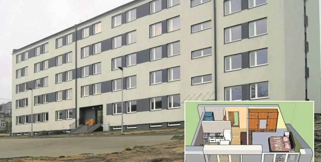 Duże zdjęcie - odremontowany hotel robotniczy. Poniżej budynku wizualizacja mieszkania, które powstanie w internacie