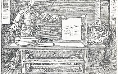 """Ilustracja z traktatu  Dürera """"Pouczenie o rysowaniu cyrklem i linią"""" z 1525, starodruk znajduje się w zbiorach Muzeum Narodowego"""