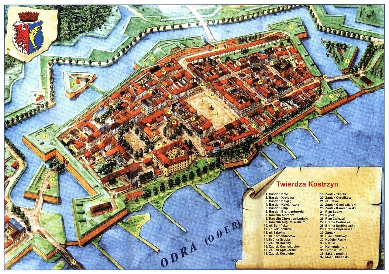 Rekonstrukcja twierdzy Kostrzyn. W latach 1535–1571 ze względu na dogodne położenie obronne margrabia Jan Hohenzollern przenosi swoją rezydencję do Kostrzyna