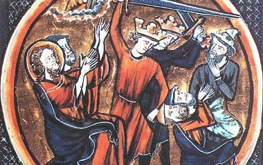 Mimo wstawiennictwa Chrystusa dwóch chrześcijańskich władców podnosi miecze, by zabić Żydów (francuska Biblia wydana ok. 1250 r.)